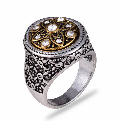 vintage silver round carved flower & rhinestone ring for men