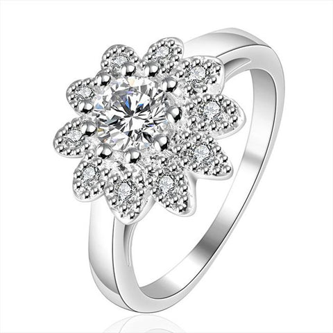 silver plated flower inlaid cz ring for women