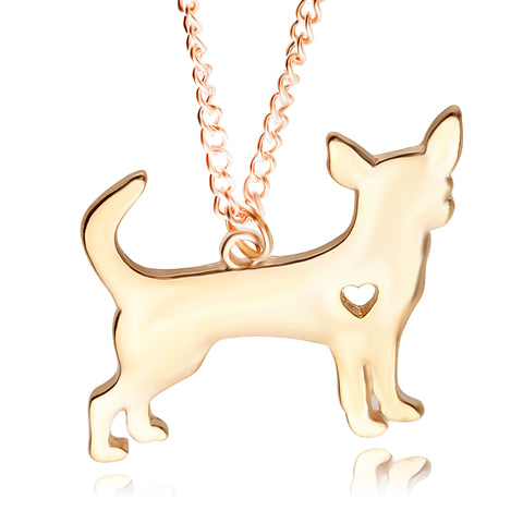 gold/silver plated cute chihuahua dog pendant necklace