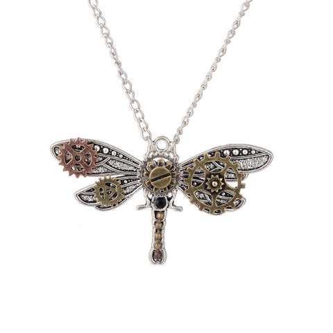 steampunk antique silver dragonfly gears necklace for women
