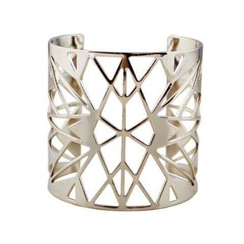 geometric hollow open cuff bracelet for women