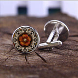 mandala shape cufflinks for men