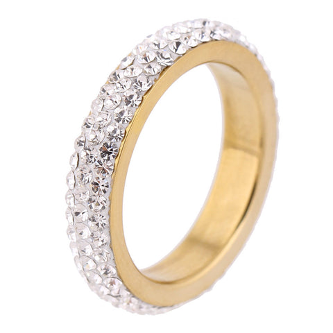 three row clear crystal gold color stainless steel ring for women