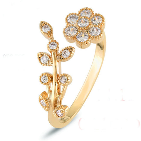 gold plate flower crystal adjustable ring for women