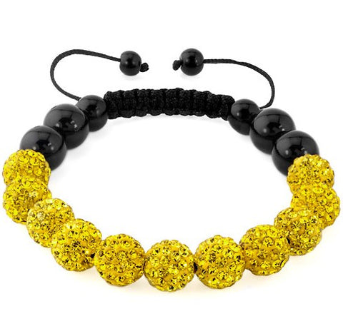 micro pave disco bead crystal shamballa bracelet for women