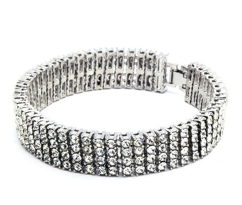 4 row crystal iced out hip hop bracelet