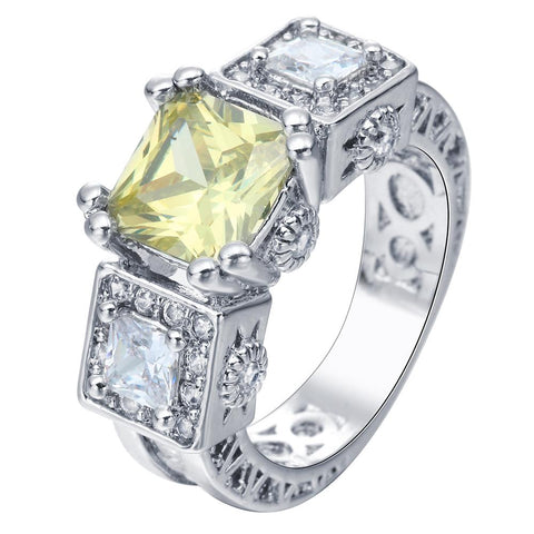 luxury large yellow square cz zircon ring for women