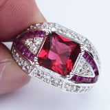 luxury red corundum zircon full paved cz ring for women