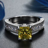 silver plated engagement yellow stone ring for women