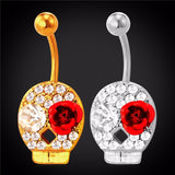 crystal skull with red flower navel piercing belly button ring