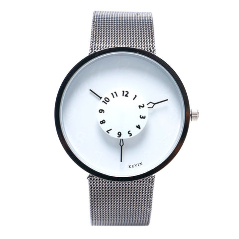 trendy black & white dial metal band quartz wrist watch