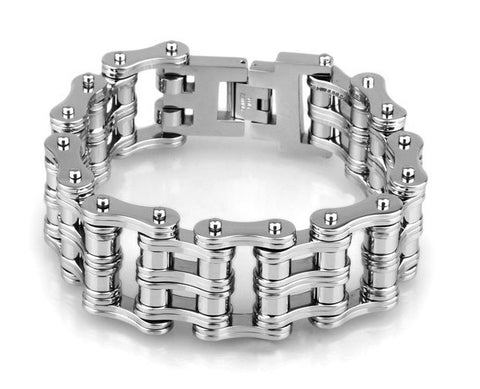 width stainless steel motorcycle chain bracelet for men