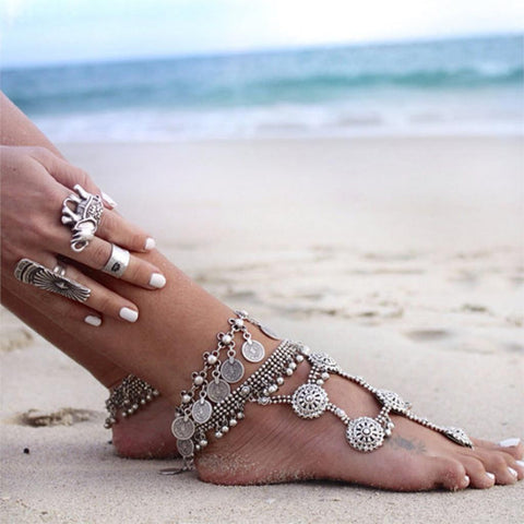 gypsy silver color metal coin tassel anklet for women