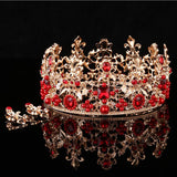 gold color crystal flowers tiara crown bridal hair jewelry