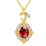 rose flower crystal cubic zircon gold color pendant necklace
