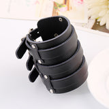 black genuine cowhide wide cuff leather bracelet for men