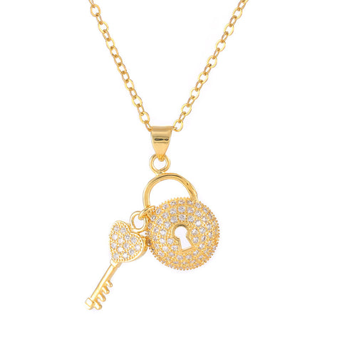 micro pave zircon lock & key pendant necklace for women