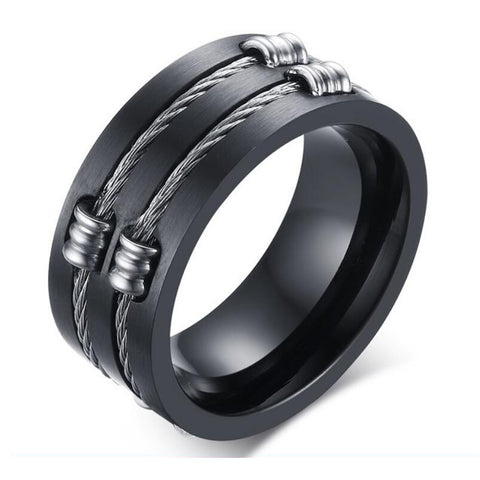punk style black color stainless steel wire ring for men