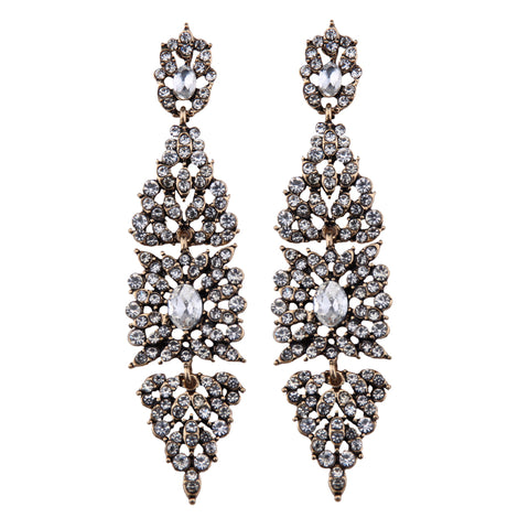 vintage geometric design crystal dangle earrings for women