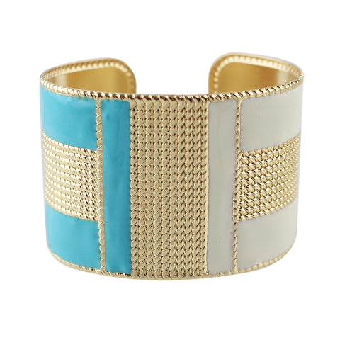 exaggerated gold color with colorful enamel cuff bracelet