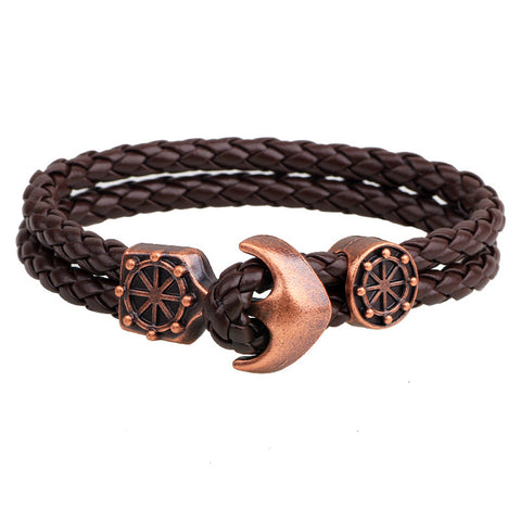 leather wristband anchor charm bracelet for men