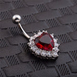 navel piercing crystal heart belly button ring