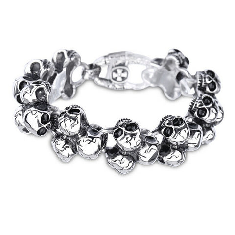 stainless steel skull biker bracelet for men