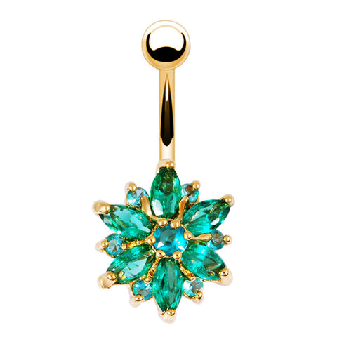 stainless steel green flower crystal belly button ring