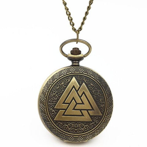 odin's symbol viking quartz pocket watch pendant necklace