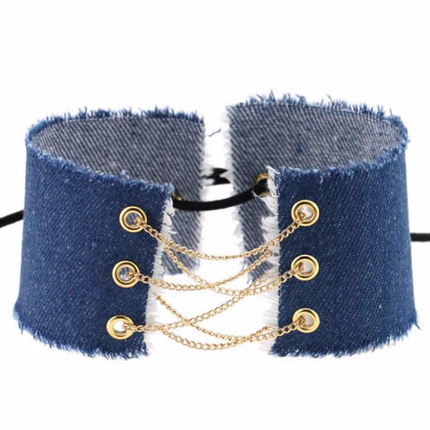 handmade lace up bowknot denim choker necklace for women