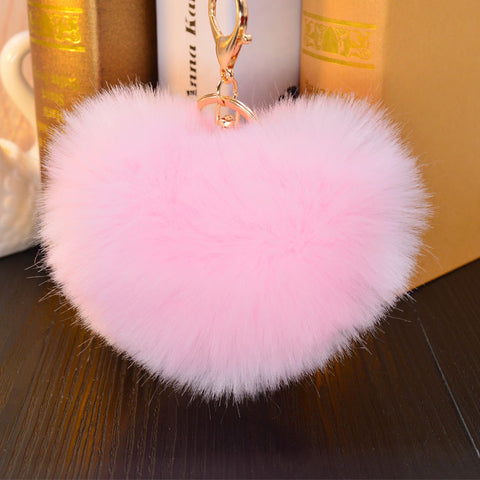 cute big furry heart shape key chain for women