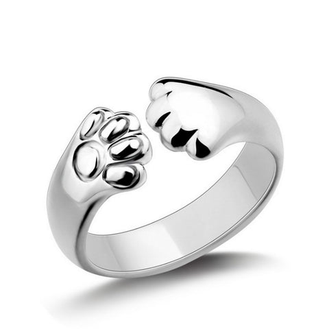 silver plated cute dog paw open ring for women