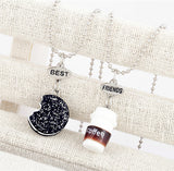 coffee cup oreo glitter biscuit pendant chain necklace