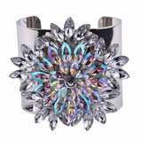 luxury colorful flowers charm cuff bracelet & bangle for women
