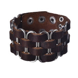 punk style braid brown leather cuff bracelet & bangle
