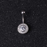 surgical steel short navel with circle crystal belly button ring