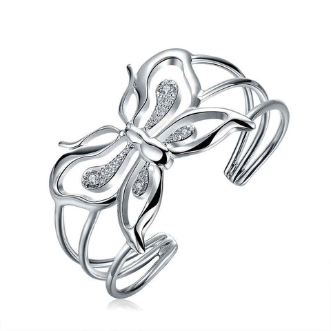 silver plated hollow crystal butterfly ring for women