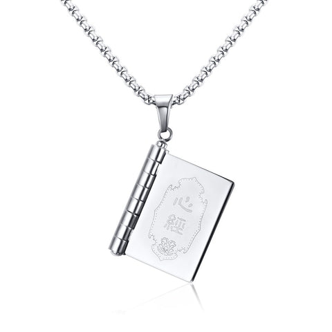stainless steel scriptures textbooks shape pendant necklace