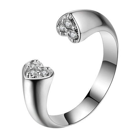 silver plated crystal hearts adjustable ring for women