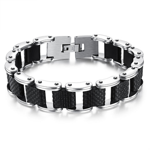 sillcone square stainless steel bracelet for men