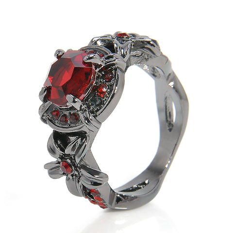 punk style red zircon crystal ring for women
