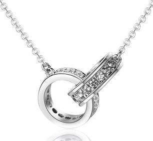 luxury 925 sterling silver double circle crystal chain necklace