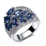 rhodium plated with cubic zircon ring for women