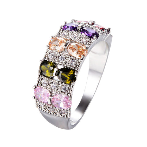 trendy colorful crystal stones silver color ring for women