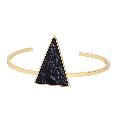 gold color chain triangle shaped natural stone bracelet for women
