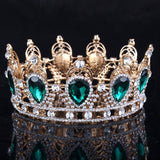 green rhinestones crystal tiara crown bridal hair jewelry