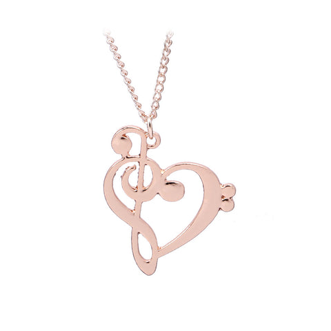 rose gold color heart & music note symbol pendant necklace