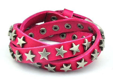 punk style genuine leather metal star wrap bracelet