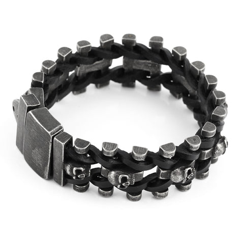 stainless steel skulls shape wristband bracelet for men