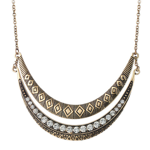 ethnic carved double moon crystal necklace for women